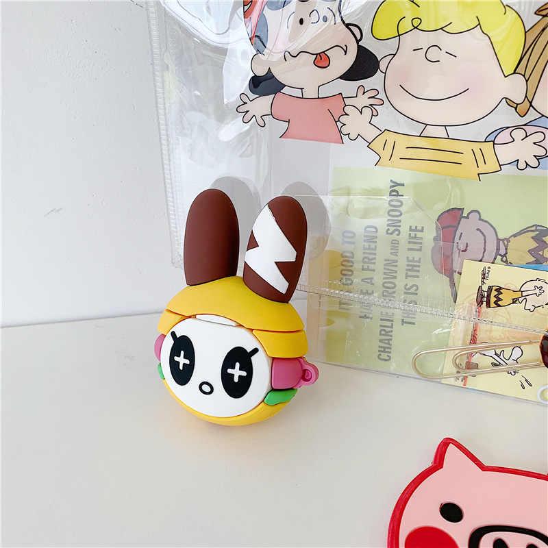 Śliczne Anime Cartoon królik rysunek pokrywa silikonowa brelok do Apple Airpods 1 2 bezprzewodowy etui na słuchawki akcesoria