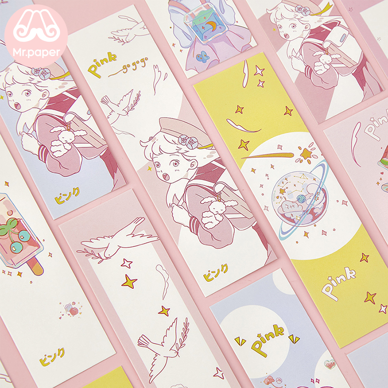 Mr Paper 30pcs/box Pink Go Kawaii Cartoon Micro Summer Bookmarks For Novelty Book Reading Maker Page Paper Bookmarks Presents
