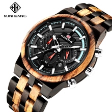2020 New Wood Watches Men Luxury Brand Chronograph Men Sports Watches Waterproof Wooden Quartz Men's Watch Relogio Masculino
