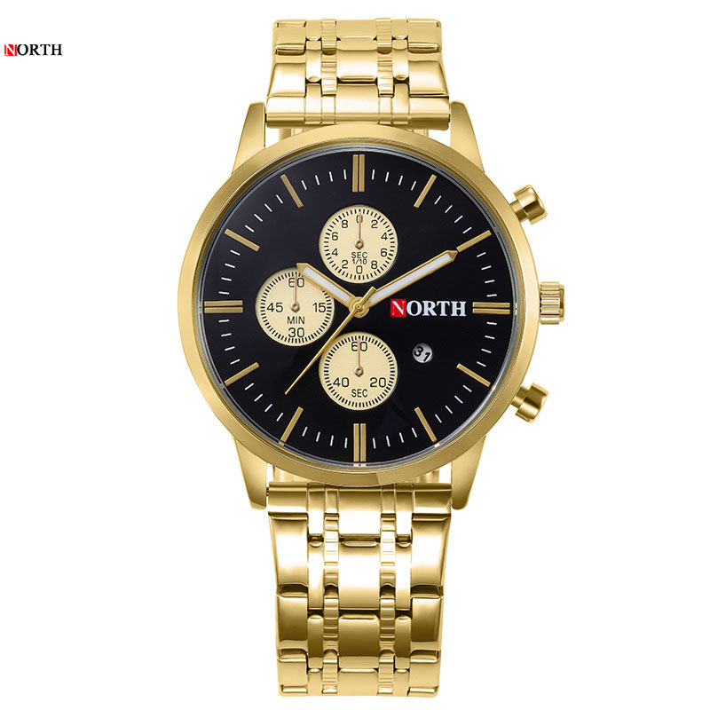 Quartz Watch Men Gold Color Bussiness Luminous Small Three Pin Stainless Steel Strap Top Brand Luxury Waterproof Watches Male in Quartz Watches from Watches