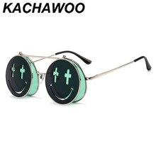 Kachawoo flip up sunglasses round punk style women red green smile vintage sun g