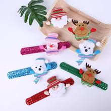 Santa Claus Snowman Natal Gelang Anak Hadiah Mainan Natal Menepuk Clap Lingkaran Pesta Ornamen LED Light Bersinar 1 Pc(China)