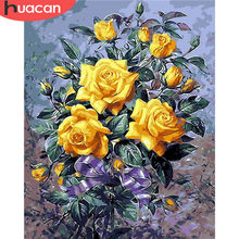 HUACAN Pictures By Numbers Rose Flowers HandPainted Coloring Drawing Kits Canvas Oil Painting DIY Home Decoration Gift SZHC684(China)