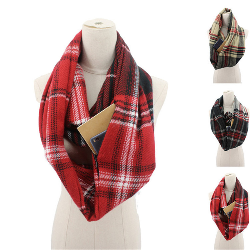 2020 plaid winter scarf with pocket knitted Warm Convertible Journey Women&Man Wrap with Secret Hidden Zipper Pocket infinity