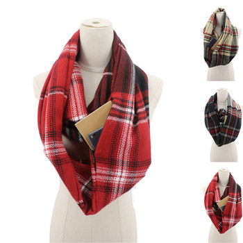 2019 plaid winter scarf with pocket knitted Warm Convertible Journey Women&Man Wrap with Secret Hidden Zipper Pocket infinity pure color knitted infinity scarf