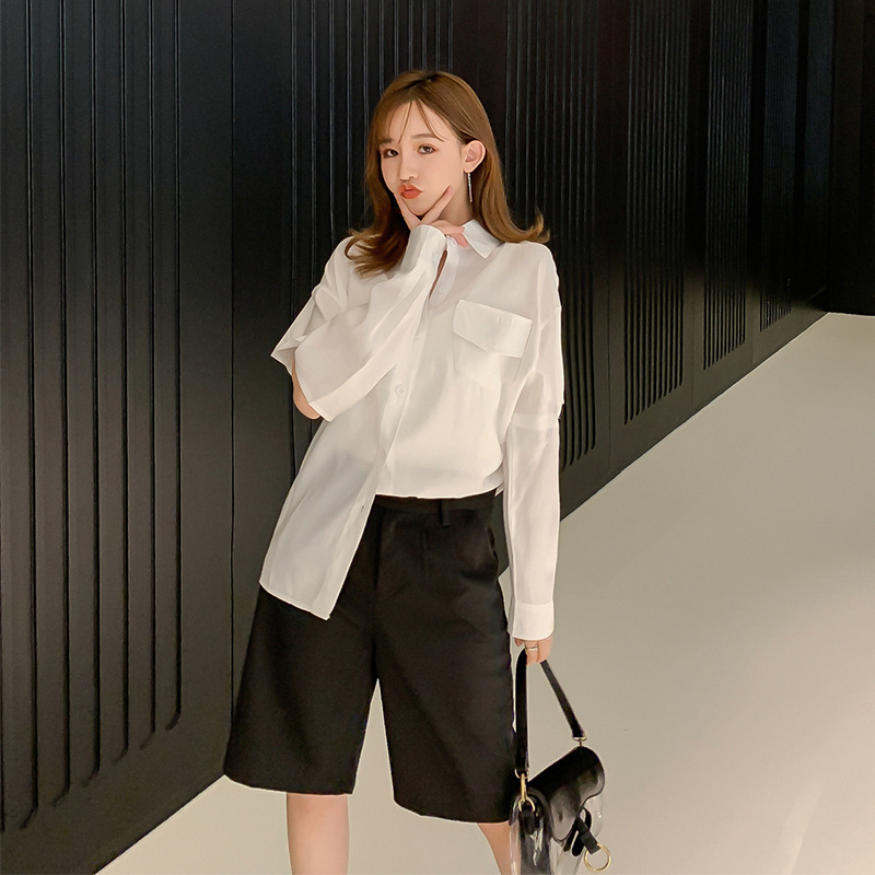 Korean-style  Early Autumn New Style Casual Shirt Tops + Versatile Suit Pants Shorts Two-Piece Women's F7679