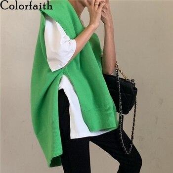 Colorfaith 2020 New Autumn Winter Women Sweaters Pullovers Sleeveless Vest Knitted Irregular Split Vintage Oversize Top SWV88878