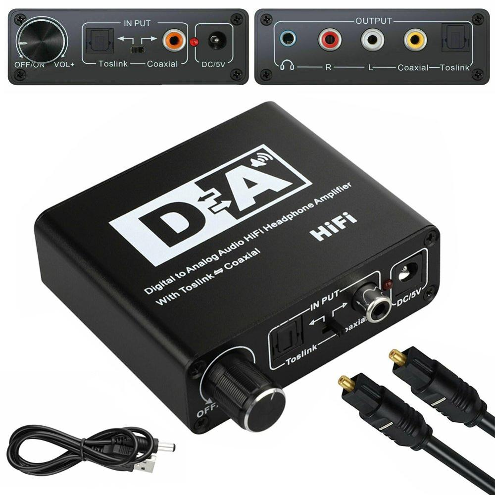 DAC <font><b>Optical</b></font> Toslink Coaxial Bi-directional Switch RCA <font><b>3.5mm</b></font> <font><b>Jack</b></font> Digital to Analog <font><b>Audio</b></font> Adapter Converter DC 5V Power image