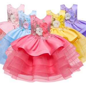 Girls embroidered new fluffy dress baby girl 1 year old birthday wear child girl embroidered mesh baptism dress