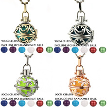 Mexico Chime Smiley Face Aroma Vintage Locket Necklace Music Ball Pregnancy Necklace Essential Oil Box Pregnant Fashion Jewelry stylish smiley face lace choker necklace