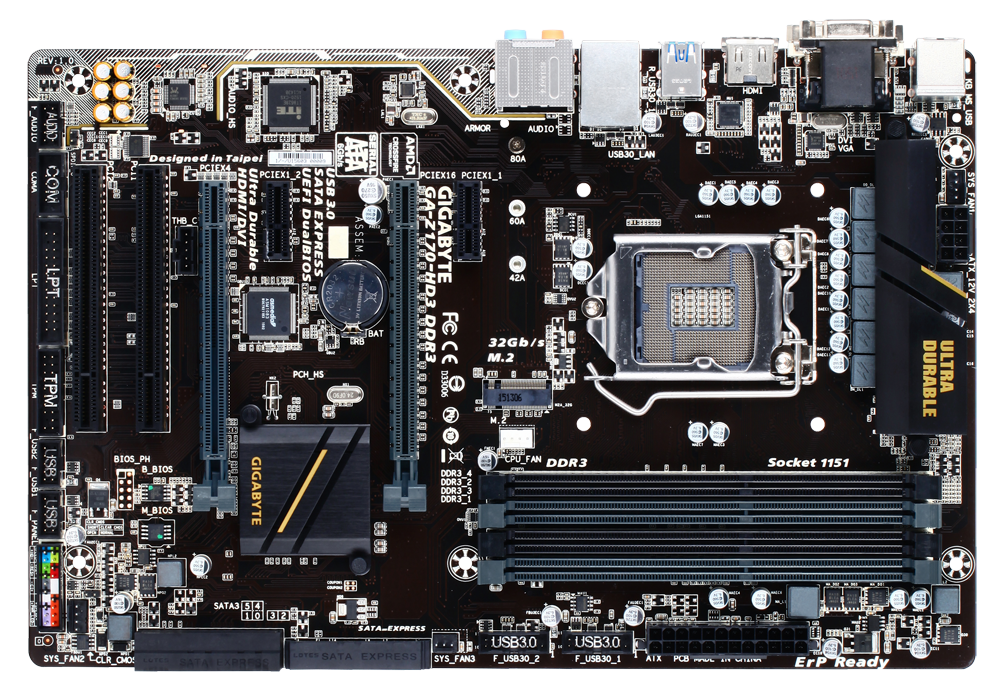 Used GIGABYTE motherboard GA-Z170-HD3 DDR3 has 4 DDR3 / DDR3L slots and supports 6th and 7th generation Intel Core processors