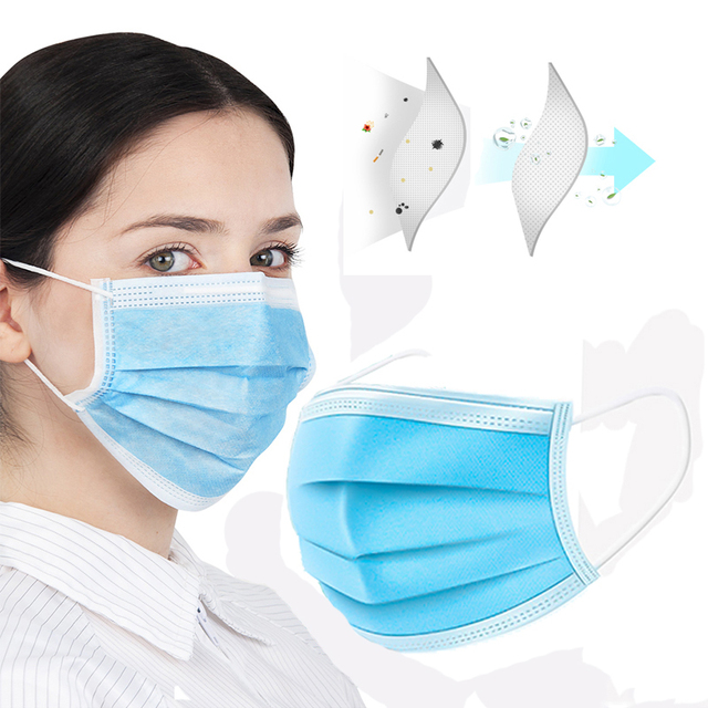 100pcs Disposable Face Mouth Masks 3-Ply Nonwoven Dustproof Hygiene Face Mask Flu Breathable PM2.5 Filter Masque Anti Pollution 5