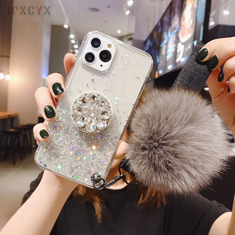 Hf5e6892cc21f46c08223022354d1f8a8Y - 3D Diamond Holder stand Glitter Hairball soft phone case for iphone X XR XS 11 Pro Max 6 7 8 plus for samsung S8 S9 S10 Note A50