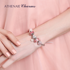 Image 4 - ATHENAIE 925 srebro z różową kokardką wkładka CZ serce delikatny róż emalia z muszlą wisiorek z koralików krople koralik Charms