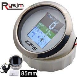 85mm Waterproof TFT Screen Digital GPS Speedometer Gauge MPH Knots Km/h Adjusted + GPS Antenna for Boat Car Motorcycle Odometer