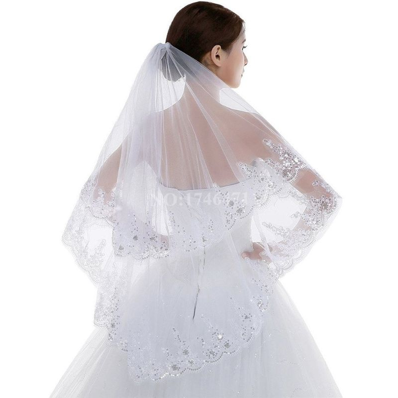 2 Tier Wedding Veil With Comb Scalloped Lace Trim Glitter Sequins Embellished Waterfall Drape Women Bridal Party Hair Accessory
