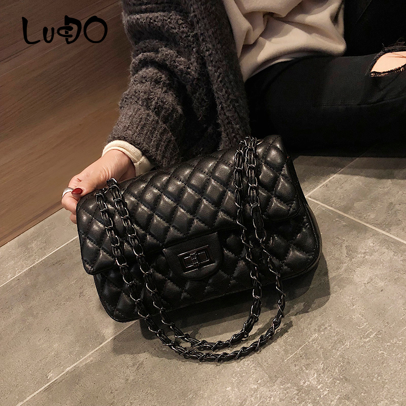 LUCDO Famous Brand Plaid Shoulder Bag Women Chain Messenger Bag Designer Classic Large Capacity PU Leather Female Crossbody Bag