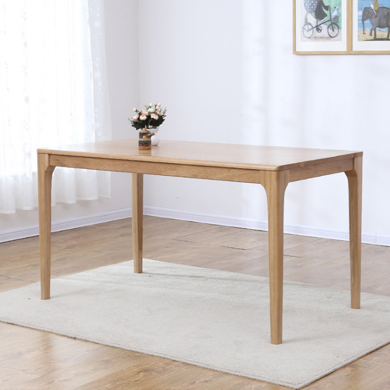 Solid Wood Dining Table White Oak Peninsula Dining Table Nordic Minimalist Oak Restaurant Cafe Dining Table