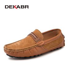 Dekabr couro genuíno dos homens sapatos casuais moda de luxo mocassins respirável couro sapatos de condução calçados masculinos