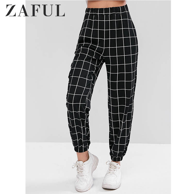 ZAFUL High Rise Pants Plaid Jogger Pants Pocket Ornament Elastic Waist Slim Fit Bttoms For Women Prevalent Style Fall2019