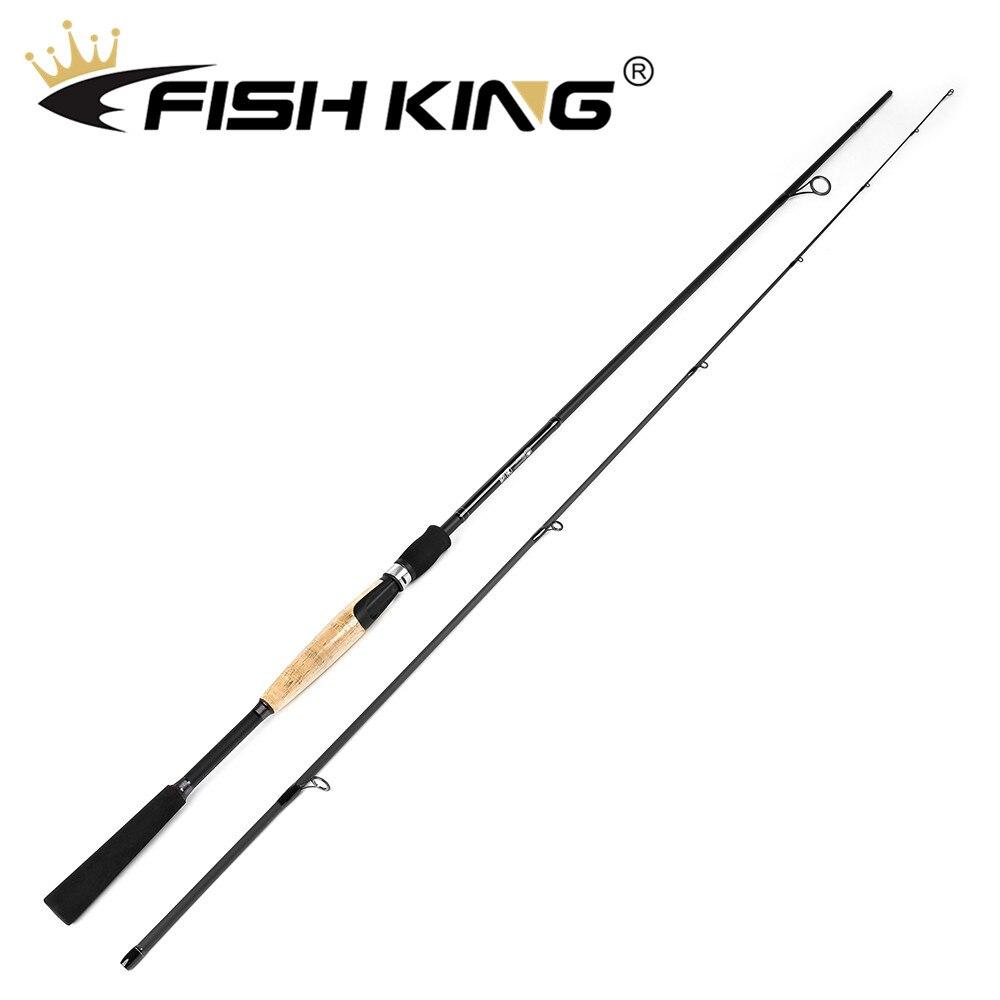 Canne à pêche en filature de carbone FISH KING 1.98 m/2.1 m/2.4 m/2.7 m Super dur 2 Sections canne à pêche au leurre pour poteau de pêche au brochet calmar
