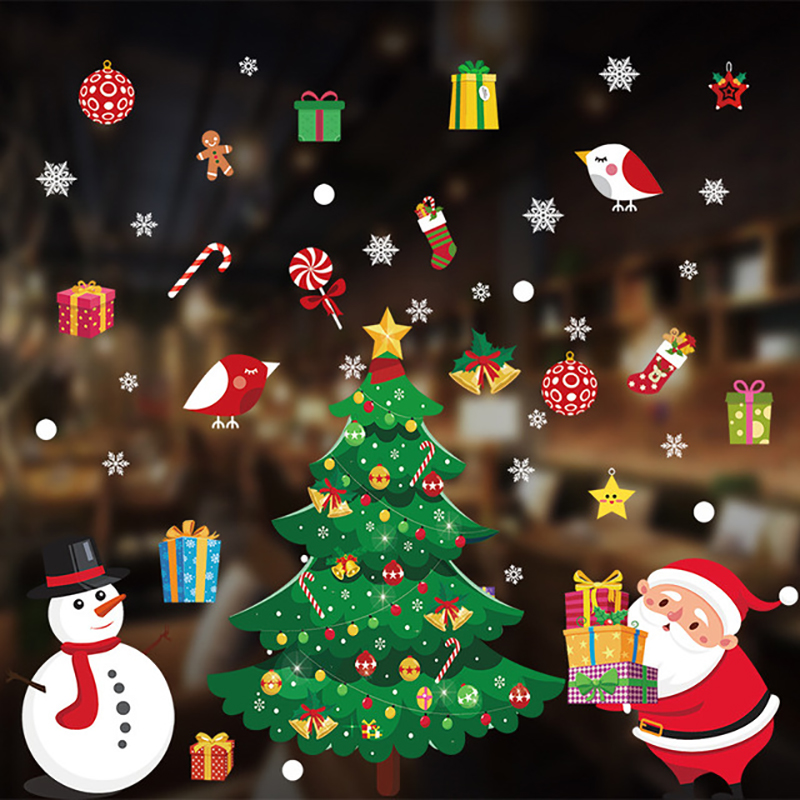 2020 Merry Christmas Window stickers Christmas decorations for home wall Glass Stickers New Year Home Decals Decor natal Noel 3