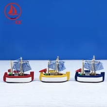 LUCKK 8-15CM Mediterranean Style Wooden Sailboat Model With Net Handmade Room Decor Furnishing Articles 3 Color Kids Toys Gifts