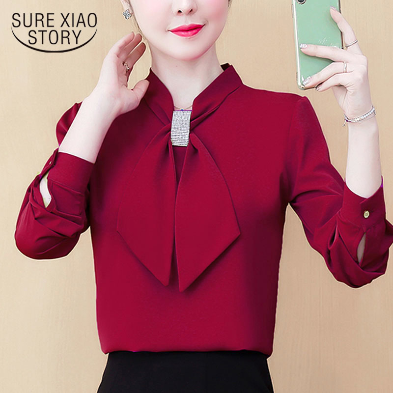 Womens Tops And Blouses 2021 Ladies Tops Chiffon Blouse Bow Solid Blusas Femininas Shirts For Women Tops Plus Size Black 8053 50 2