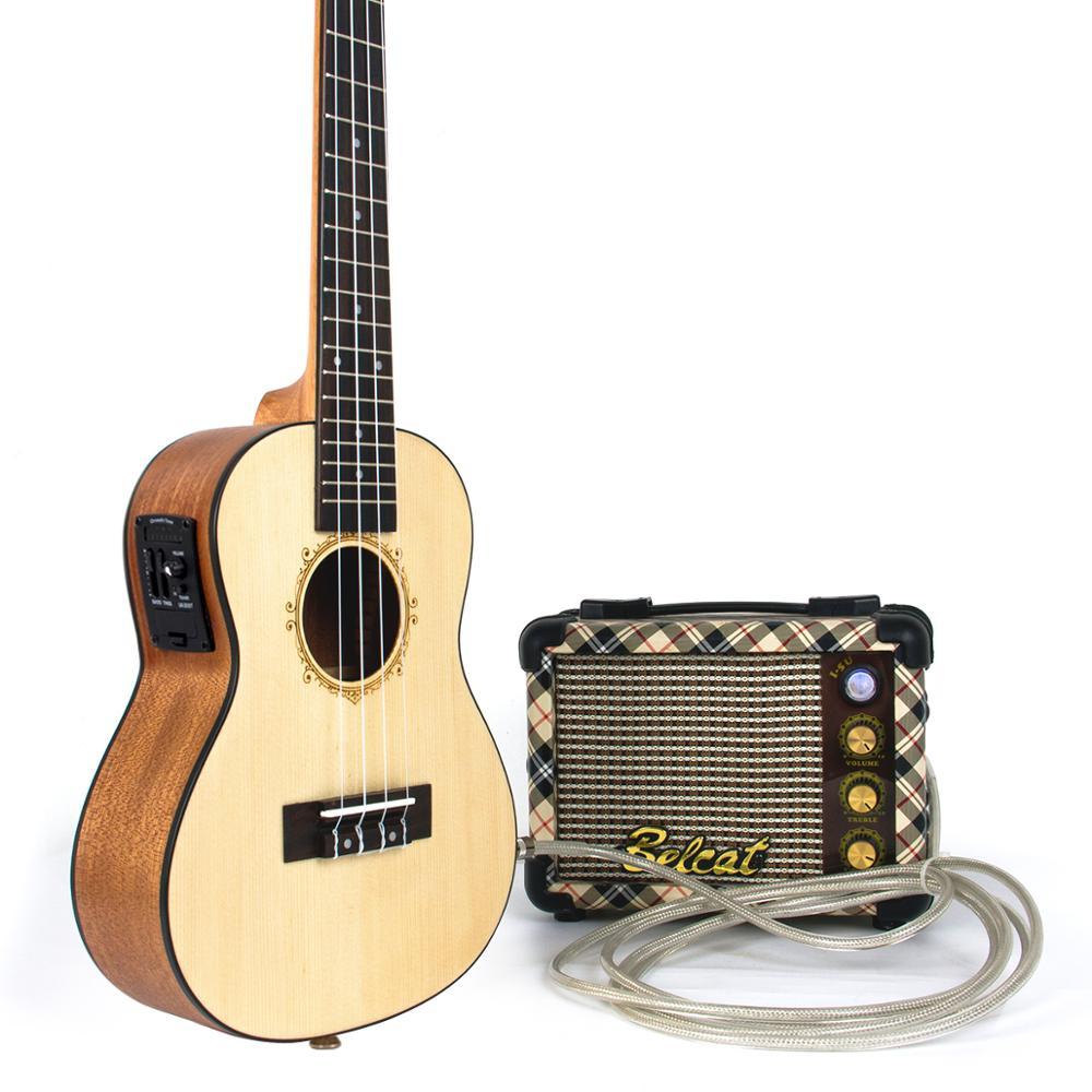 Kmise Concert ukulélé électrique acoustique épicéa massif Ukelele 23 pouces 18 frettes Uke 4 cordes Hawaii guitare - 5