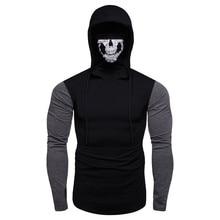 2019 Mens Hoodie Mask Skull Splicing Pullover Black Long Sleeve Male Hooded Sweatshirt Tops Blouse L0725
