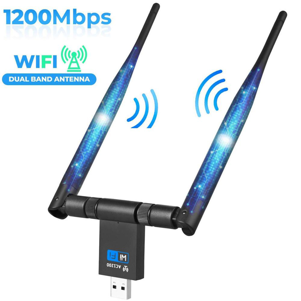 1200Mbps USB Wifi Dongle Adapter 5Ghz 2.4Ghz USB Dual Band RTL8811AU Wifi Antenna LAN Adapter For Windows Mac Desktop/Laptop/PC