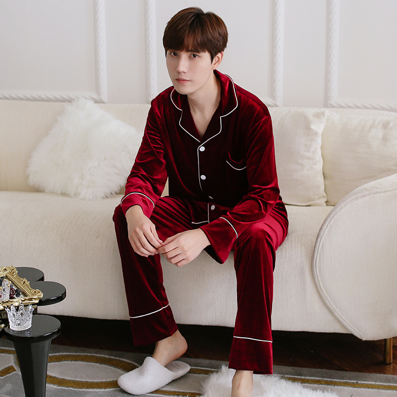 Burgundy Winter Velour Pajamas Sets Mens Shirt Pants Sleepwear Male Home Wear Nightgown Suit Robe Bath Gown Sleepshirts L-XXL