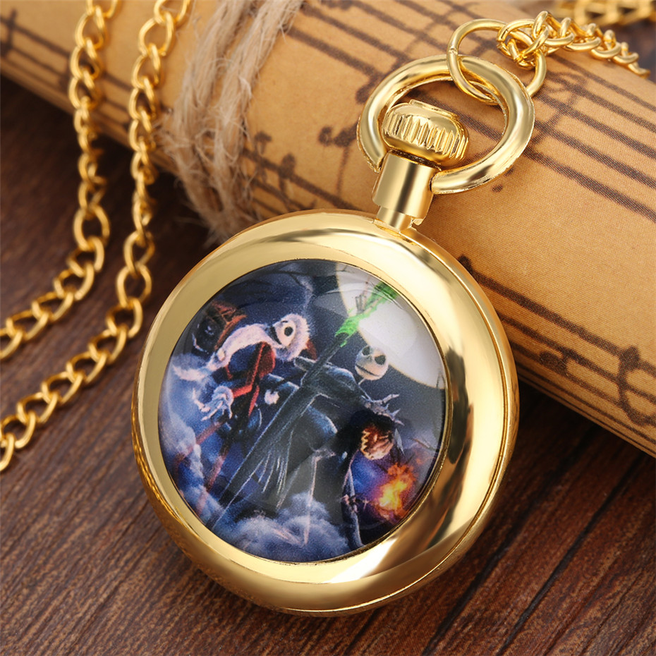 Retro Nightmare Before Christmas Theme Quartz Pocket Watch Children Pendant Necklace Clock Fob Golden Chain Roman Numerals Dial
