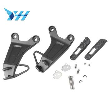 1Set Aluminum Motorcycle Rear Passenger Foot pegs foot rest with Brackets For Honda CBR600RR F5 2003 2004 Footrest