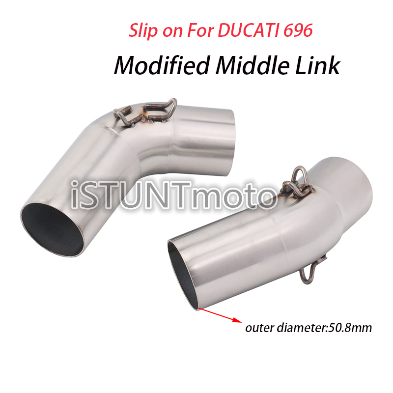 Slip On For Ducati 696 Motocycle Exhaust Pipe Modified Escape moto Stainless Steel Middle Connection Link Pipe Tube