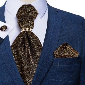 Gold Floral Men Vintage Ascot Cravat Formal Wedding Silk Necktie For Men Luxury Ascot Tie Handkerchief Cufflinks Set DiBanGu кроссовки ascot ascot as821amancn1