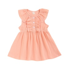 Summer Toddler Kids Baby Girls Cute Dress Cotton&Linen Sleeveless Ruffles Solid Color Party Dress Girl Clothes Sundress lovely toddler kids baby girls pumpkin floral dress party short sleeve dress sundress halloween cute clothes summer suit