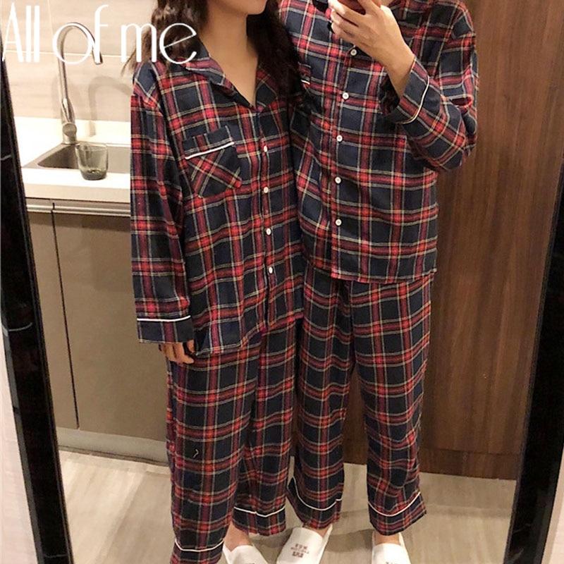 1Set red Pijamas conjunto de Pijamas de pareja de moda Homewear para los hombres y las mujeres de ropa de dormir Pijama de algodón parejas Pijamas Mujer ropa de casa