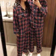 1 ensemble grille Pyjamas Couple Pyjamas ensemble mode Homewear pour femmes hommes vêtements de nuit coton Pyjamas Couples Pijamas Mujer maison costumes