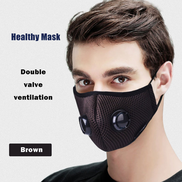 Double Breath Valve Face Mask Respirator Activated Carbon Filter Anti Haze/dust/Pollution Bacterial Flu pm2.5 mouth mask 5