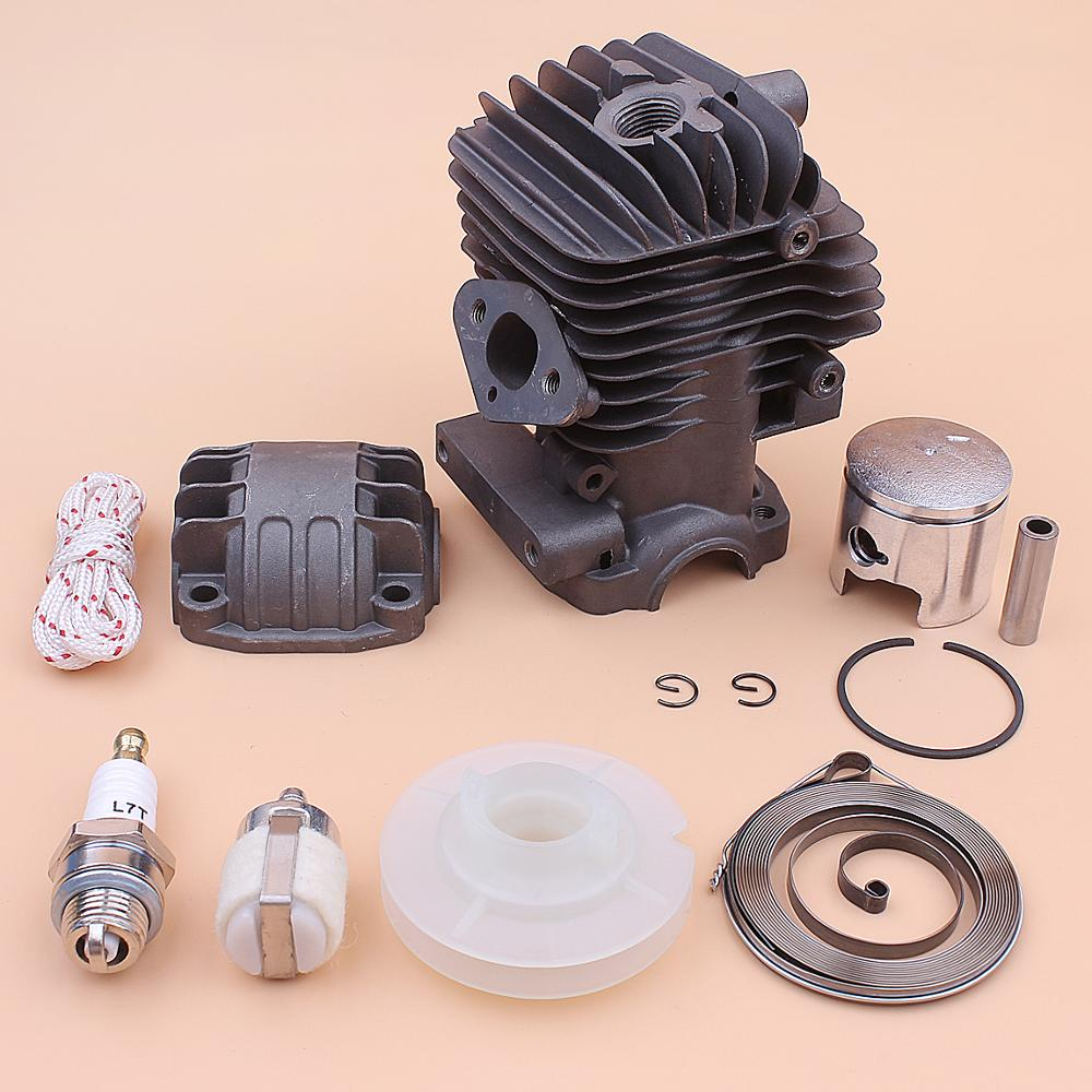 Tools : 34mm Cylinder Piston Engine Pan Base Kit For Chinese 2500 25cc Recoil Starter Pulley Spring Rope Spark Plug Chainsaw Part