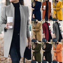 Mulheres outono inverno suporte pescoço manga longa casaco feminino bolsos de lã fina casacos casuais feminino trabalho de escritório casacos finos