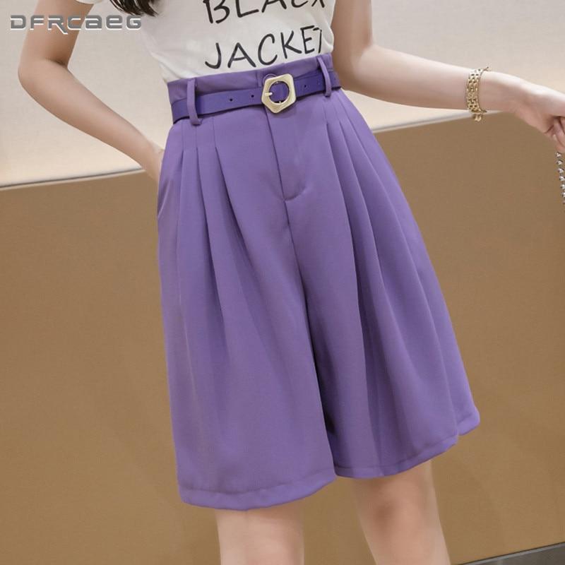 Free Belt High Waist Knee Length Bermuda Summer Shorts Woman 2020 Loose Office Work Suits Short Womens White Capris Trousers