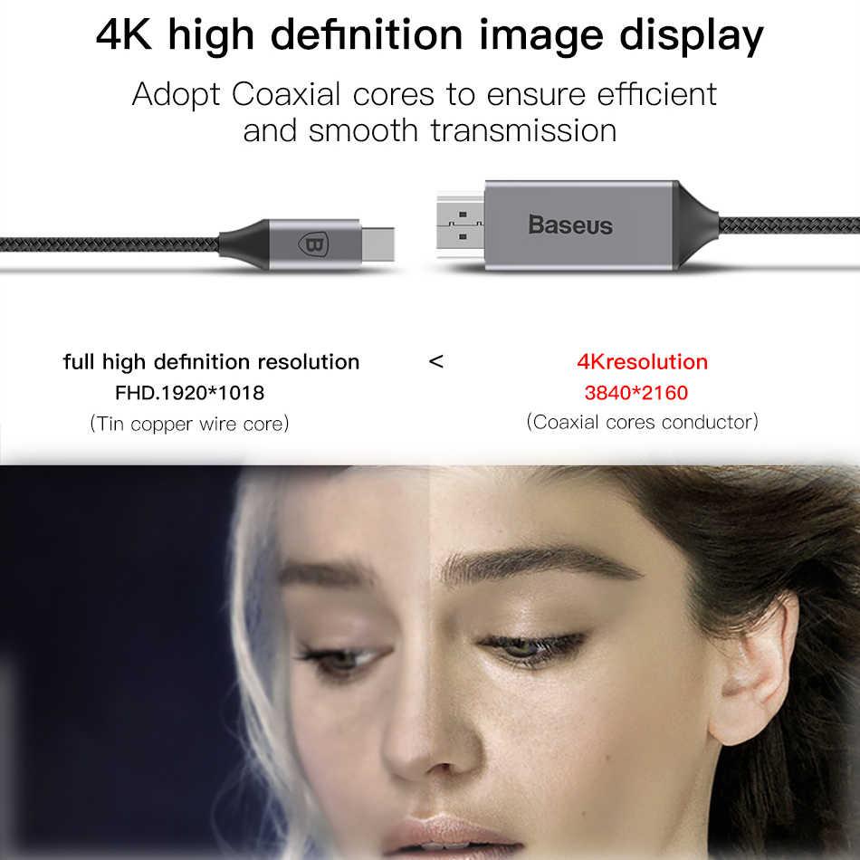 Baseus USB C HDMI كابل نوع C إلى HDMI Thunderbolt 3 محول الطاقة محول ل ماك بوك باد نوع-c USB-C إلى 4K HDMI سلك الحبل
