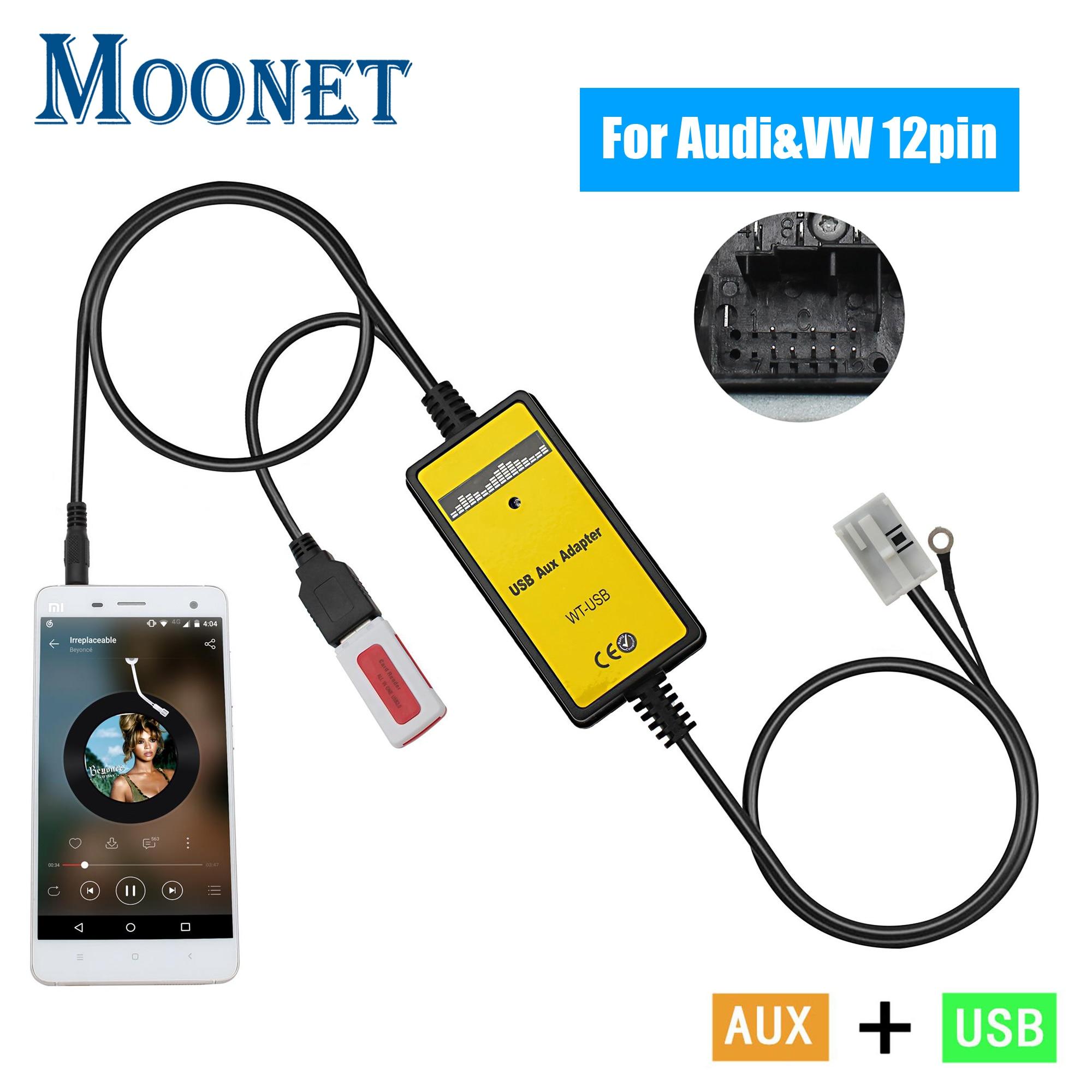Moonet Car Audio MP3 AUX Adapter 3.5mm AUX USB Interface CD Changer For Audi Volkswagen Tiguan Touran T5 Golf Passat QX091(China)