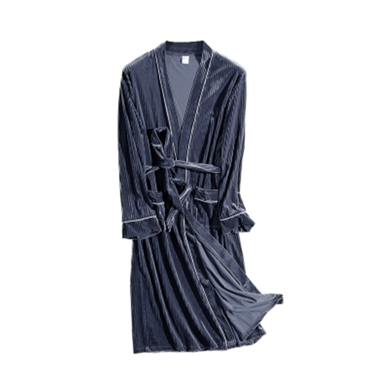 Men's pajamas, autumn and winter, new long golden velvet pajamas, plus fat, men's home clothes, simple wind pajamas