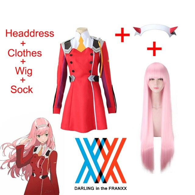 DARLING in the FRANXX Code002 Disfraz de Cosplay para mujer, falda completa, incluye medias negras, peluca, tocado, ropa de Halloween