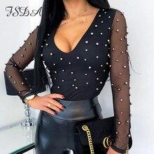 FSDA Mesh Patchwork Beaded V Neck Women Blouse Elegant Black Long Sleeve Summer