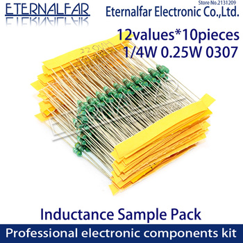 12values Color Ring Inductor Assortment 0307 1/4W 0.25W Inductors 1UH 100UH 33 220UH 330UH 470UH 1MH  Inductors Assorted Set Kit shielded inductor cdrh127r 4 7uh 6 8uh 10uh 22uh 33uh 47uh 56uh 68uh 100uh 150uh 220uh 330uh 470uh 12 12 7mm smd power inductors