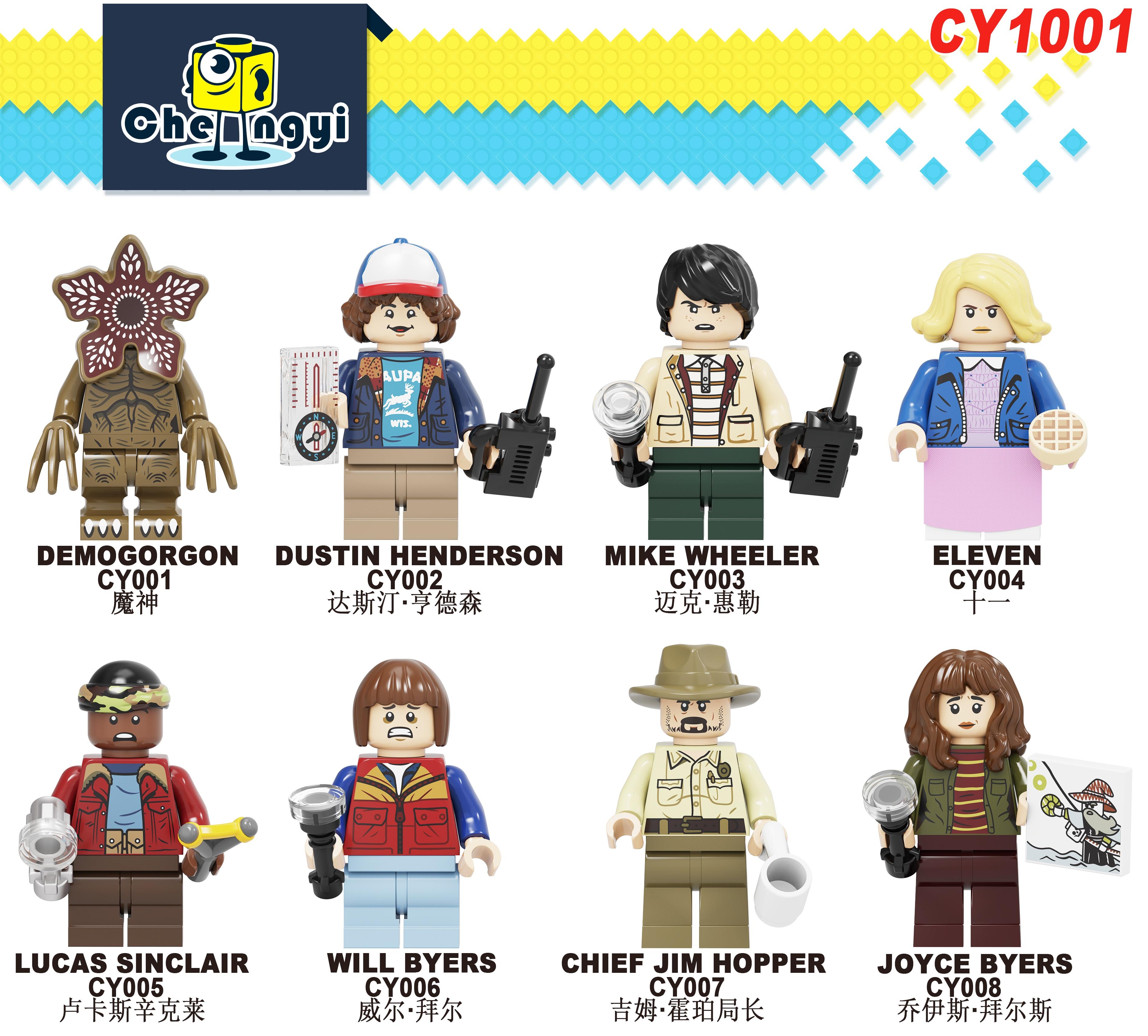 Blocos de Construção CY1001 Demogorgon Dustin Mike Henderson Wheeler Onze Lucas Sinclair Vai Byers Figuras Bricks Brinquedos para Crianças